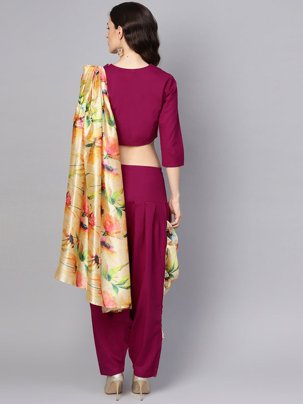 Pink printed palazzo saree with 3/4th sleeve round neck blouse