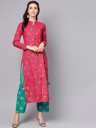 Megenta Gold printed kurta with solid green palazzo