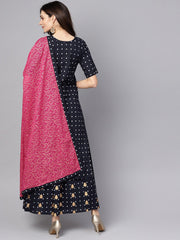 Navy blue three piece Kurta set with Palazzo & Megenta Dupatta