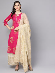 Cream Gold Printed Three Piece Kurta set With Palazzo & Dupatta