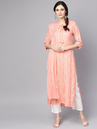 Peach printed 3/4th sleeve kurta with dupatta and white palazzo