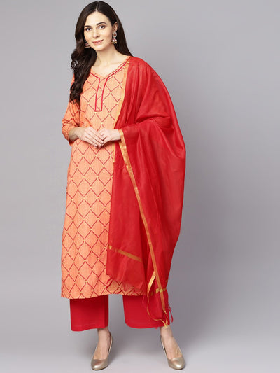 Red 3/4th sleeve rayon kurta with maroon palazzo and dupatta