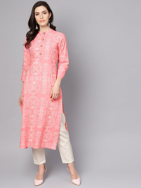 Pink printed full sleeve cotton straight kurta