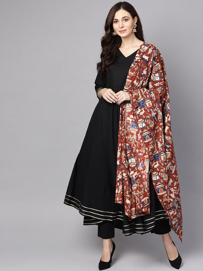Black 3/4th sleeve cotton kurta with palazzo and printed dupatta
