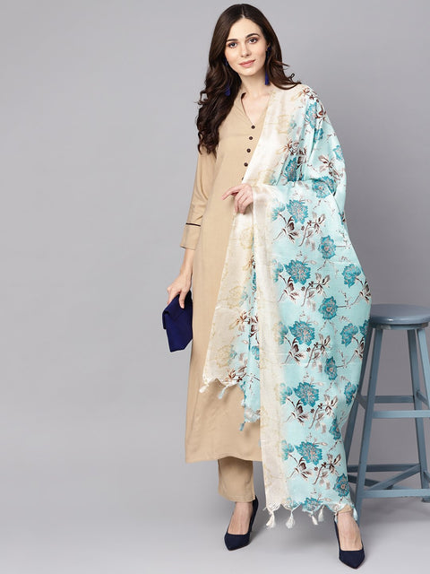 Beige 3/4th sleeve Rayon Kurta with ankle length palazzo and printed dupatta