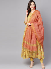 Yellow 3/4th sleeve cotton Anarkali kurta with churidar and dupatta