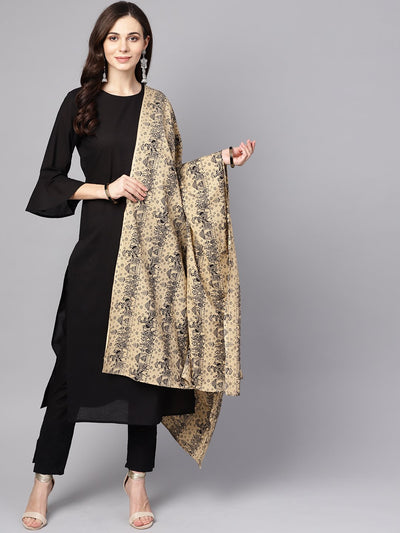 Black 3/4th sleeve cotton kurta and palazzo with beige printed dupatta