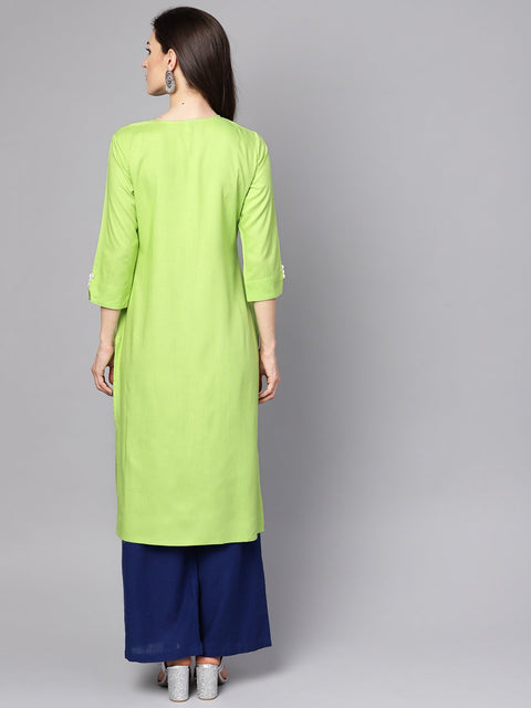 Green 3/4th sleeve rayon Embriodery kurta