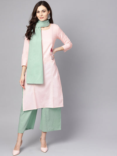 Solid pink 3/4th cotton kurta with Green pallazo and dupatta
