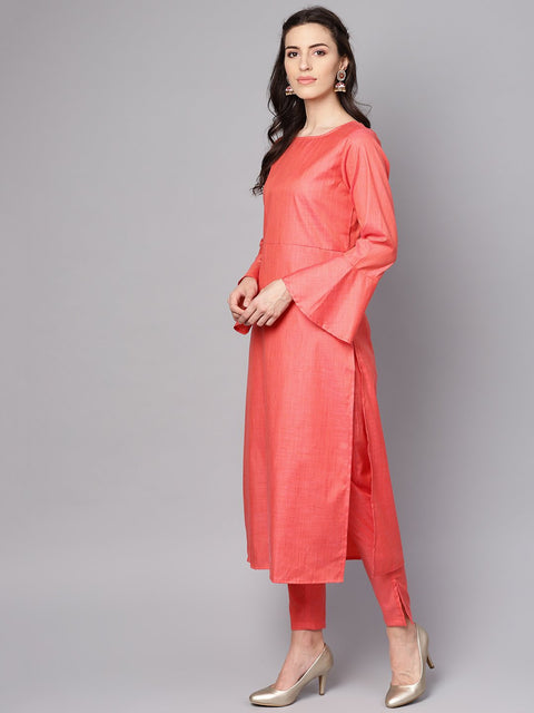 Red full sleeve cotton kurta with  pant and brocade dupatta
