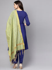 Blue 3/4th sleeve cotton a-line kurta with palazzo and yellow dupatta