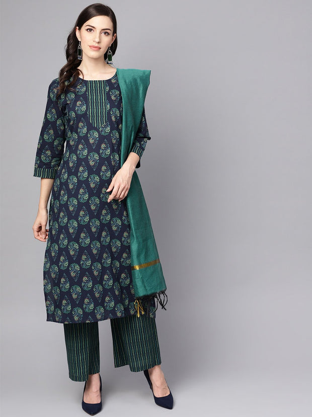 Navy blue printed 3/4th sleeve cotton kurta with striped palazzo and dupatta