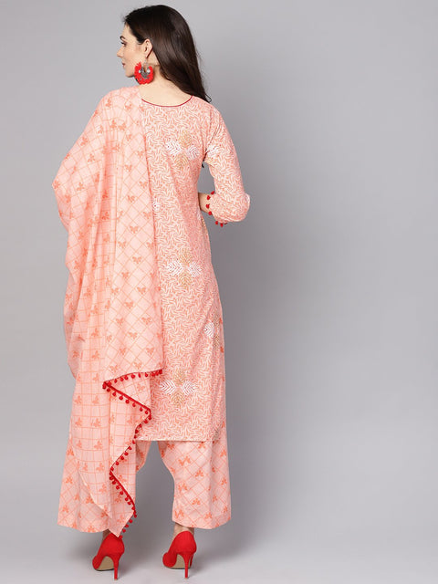 Baby Pink printed 3/4th sleeve cotton kurta with patiala and dupatta