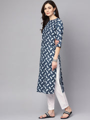 Navy blue printed 3/4th sleeve A-line cotton kurta with white palazzo