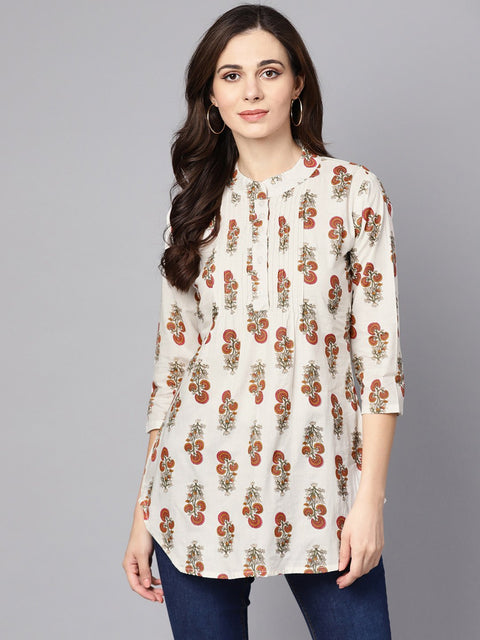 White printed 3/4th sleeve cotton tunic