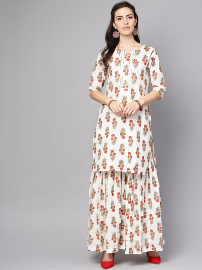 White printed half sleeve cotton kurta with sharara and solid orange dupatta