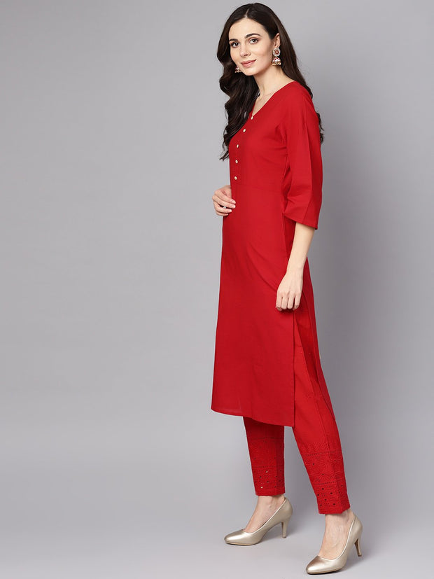 Red 3/4th sleeve rayon kurta with palazzo and printed dupatta