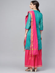 floral foil print chanderi straight kurta (with lining) with solid skirt and printed dupatta