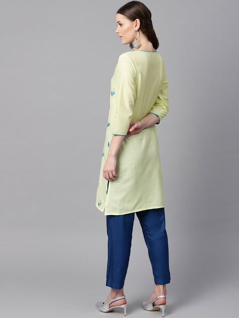 leaf Embroidered yellow 3/4th sleeve kurta