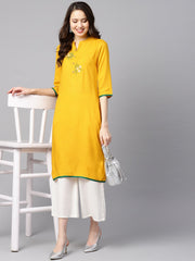 Mustard yellow embroidered straight rayon kurta with 3/4th sleeves