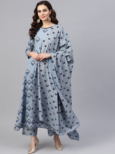 Women Blue & Golden Printed Kurta with Trousers & Dupatta