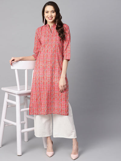 Geometric and floral mix printed cotton straight kurta