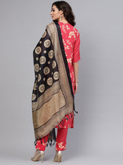 Leaf printed straight kurta and solid pants with printed dupatta