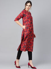 Maroon Floral Printed 3/4th sleeve straight kurta with solid black cigerette pants
