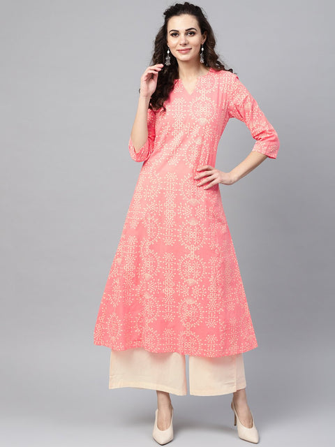 Pink printed 3/4th sleeve kurta set with beige palazzo