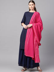 Navy blue gold printed straight kurta with solid navy blue skirt with solid rani pink dupatta