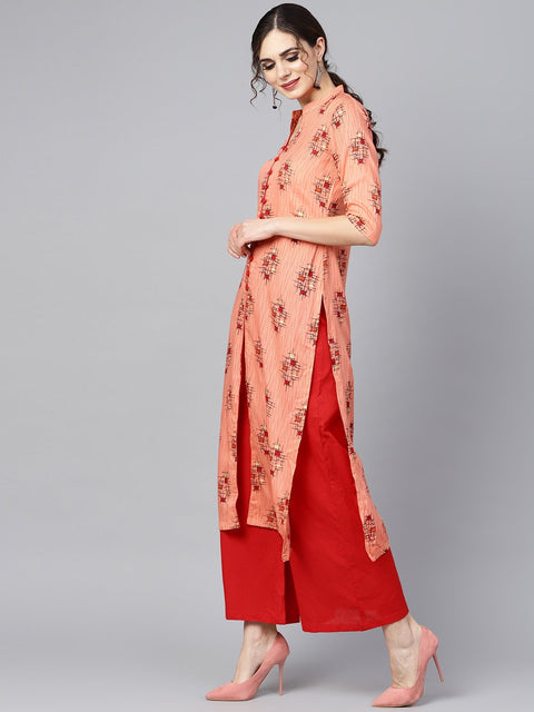 Geometric gold khadi printed straight kurta with multi slits and button detailing, with solid red palazzo