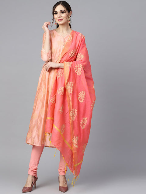 Peach two-toned gold khadi chanderi anarkali with solid light pink churidar and printed chanderi dupatta