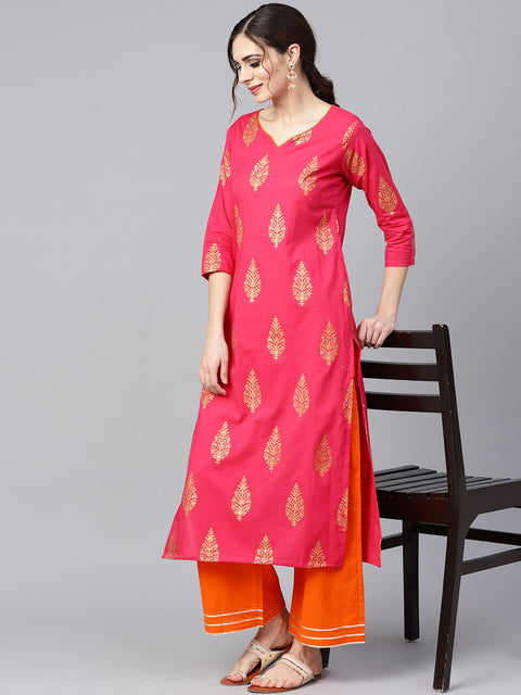 Red gold printed kurta set with solid orange gota detailing pant