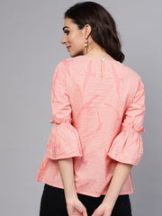 Pink quirky bird printed Round neck frilled sleeves top
