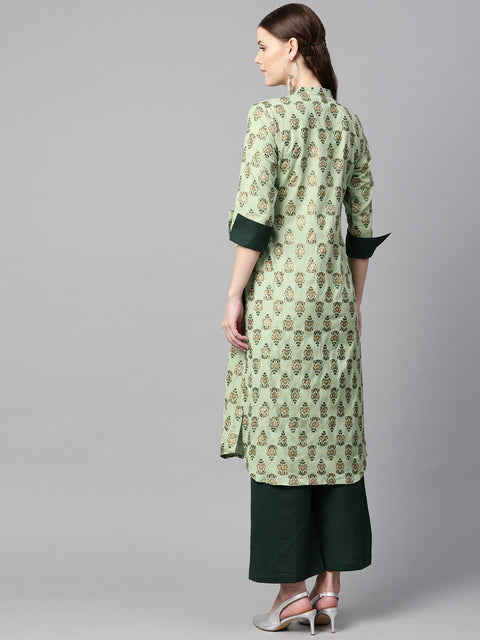 Green floral print V-neck collared 3/4th sleeve straight kurta with revesible cuff detailing solid palazzo.