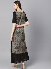 Grey and gold floral printed keyhole neck kurta with schiffli at yoke.