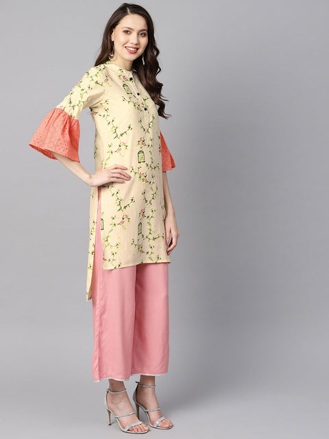 Off-white floral printed high-low flared schiffli sleeves kurta.