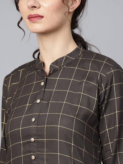 Black checkered gold printed 3/4th sleeve chinese collared button detailing kurta with solid sharara