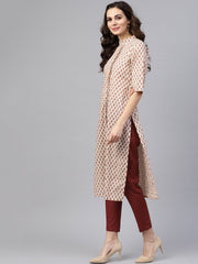 White printed closed collar with back slit opening 3/4th sleeve front pleated kurta with side pockets with solid ciggratte pants