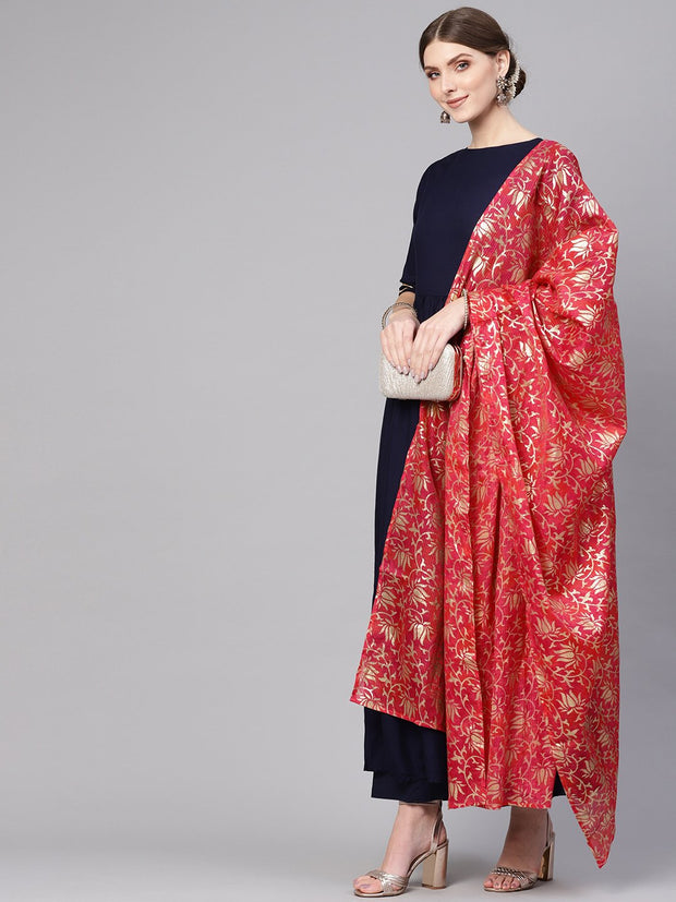 Women Navy Blue & Pink Solid Kurta with Palazzos & Dupatta