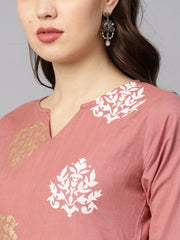 Mauve Colored Gold printed Kurta Set with Solid Palazzo Embellished with Gotta