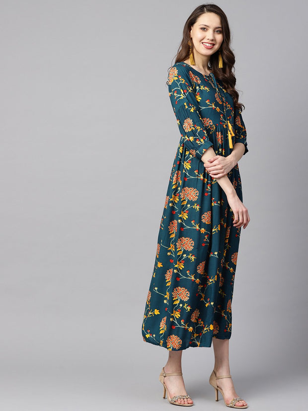 Dark teal Turquiose Floral printed maxi dress with key hole neckline & 3/4 sleeves