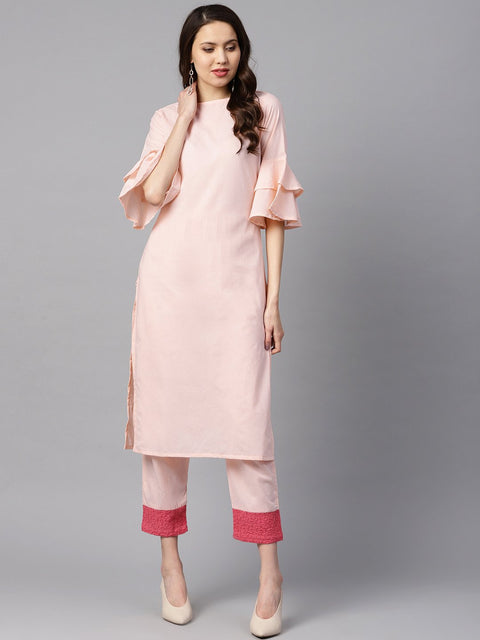 Solid Light Peach Straight Kurta with Flared sleeves & Pants with Shifli detailing
