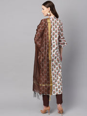 Multi Colored Straight kurta With Solid Chocolate brown pants & dupatta