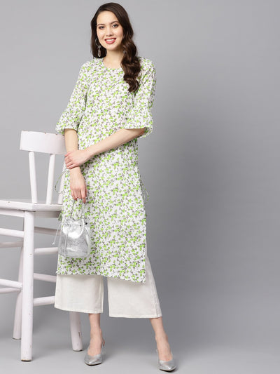 White and green Colored kurta with Flared sleeves & Round neck