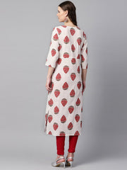 White & Red Printed Kurta with Keyhole neck & 3/4 sleeves