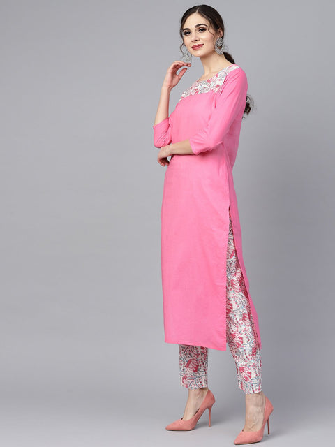 Solid 3/4th sleeve Pink Kurta with Printed shoulder yoke with pants & Mul printed Dupatta