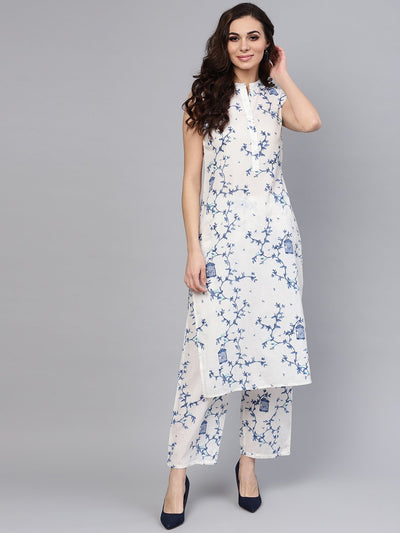 White Printed Sleeveless Kurta with Pant