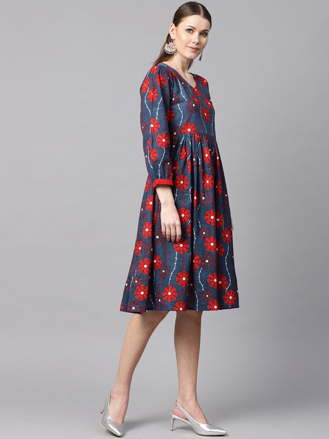 Blue Printed Dress with V neck & 3/4 sleeves