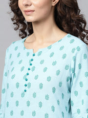 Sky blue Round neck with button detailing 3/4th sleeve kurta